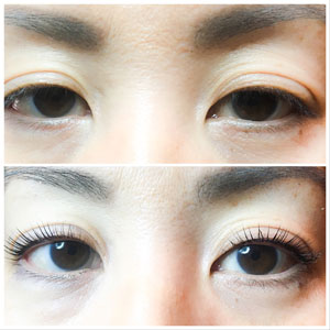 YUMI Lash Lift before and after